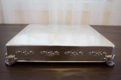 Rental store for 18  X 3 H Square Silver Cake Stand in Richmond VA