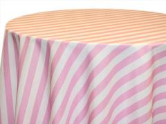 Rental store for 120  Round Pink Awning Stripe Poly in Richmond VA